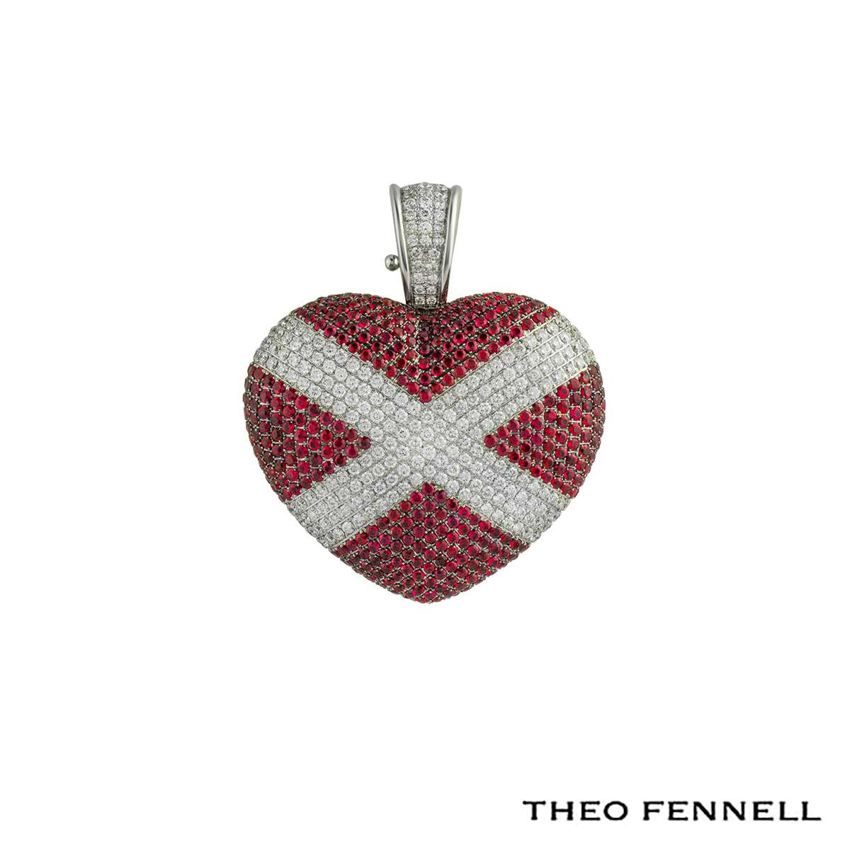 Theo Fennell 18k White Gold Diamond & Ruby Heart Pendant